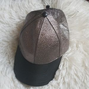 Women's Express Faux Leather Cap OSFA NEW